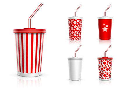 red straw: Disposable cups for beverages with straw collection  Vector illustration