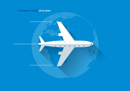 Vector flat transportation concept icon illustration. Airplane. Vector