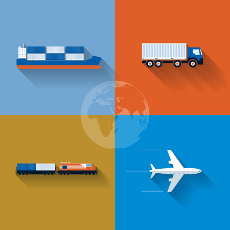 commercial airplane: Vector flat transportation concept illustration  Icon set