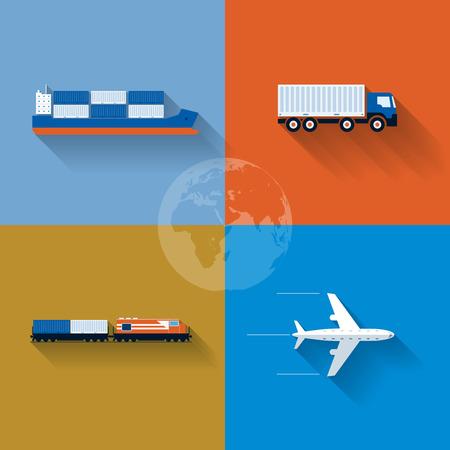 Vector platte vervoer concept illustratie Icon set Stock Illustratie