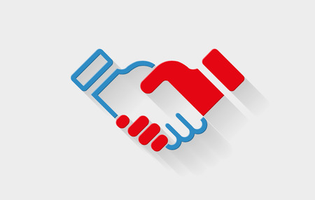 Vector handshake flat icon with long shadow  Elements are layered separately in vector file