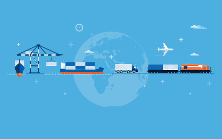 logistics world: Vector flat global transportation concept illustration  Illustration