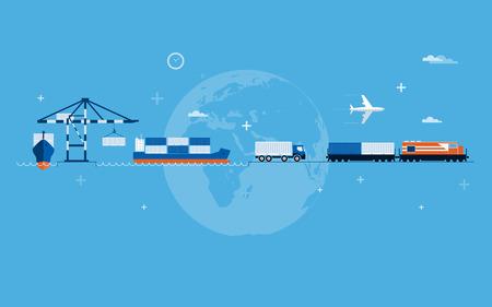 ports: Vector piatto concetto globale di trasporto illustrazione Vettoriali