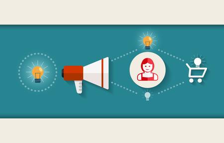 Flat design vector illustration of marketing process concept  Vector