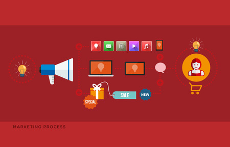 Flat design vector illustration of marketing process concept  Isolated on red background Vector
