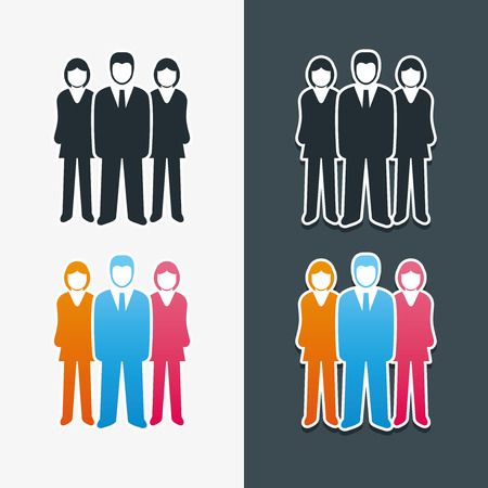 people icon set: Vector isolated business people icon set  Team work concept  Illustration