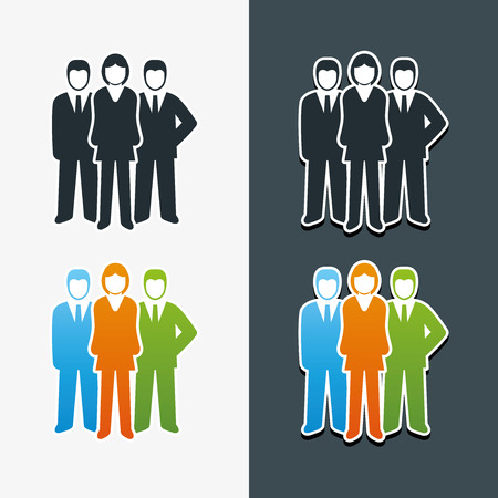 Vector isolated business people icon set  Team work concept  Vector
