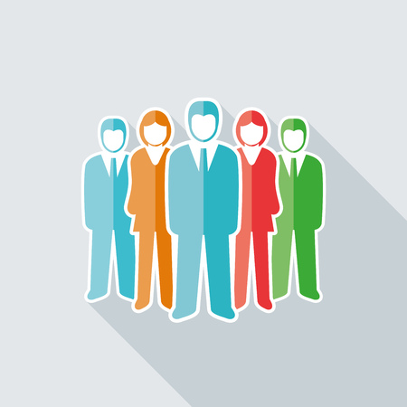 business team: Vector isolated business people team
