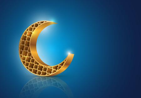 イスラム教徒のコミュニティ祭 Eid Mubarak シンボル ベクトル青の背景に装飾的な三日月
