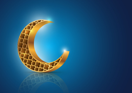 Muslim community festival Eid Mubarak symbol Vector decorative crescent moon on blue background