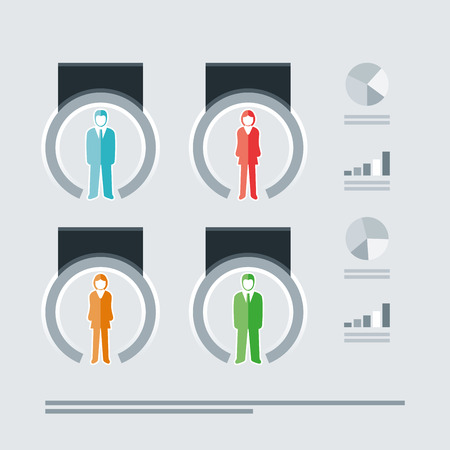 Vector isolated business people infographic template.  Vector