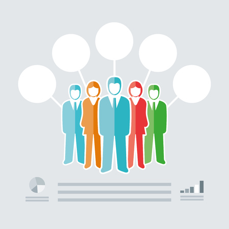 Vector isolated business people team infographic template.  Vector