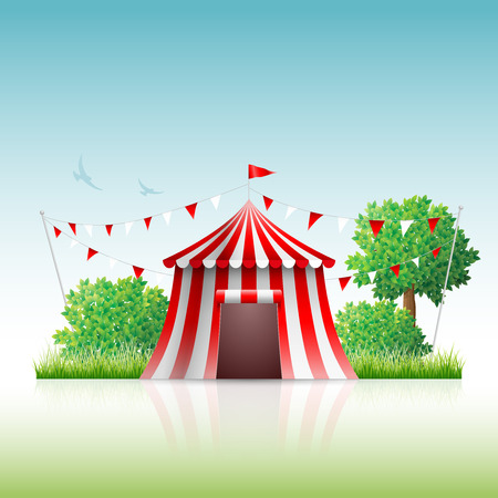 Vector illustration of circus in nature.  イラスト・ベクター素材