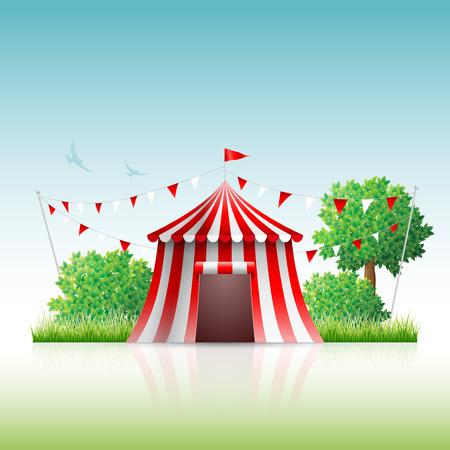 Vector illustratie van het circus in de natuur.