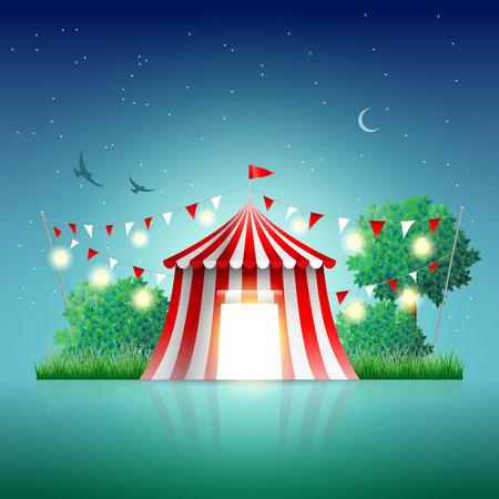 animales de circo: Tienda de circo en la noche del paisaje. Los elementos est�n en capas por separado en archivo vectorial. Vectores