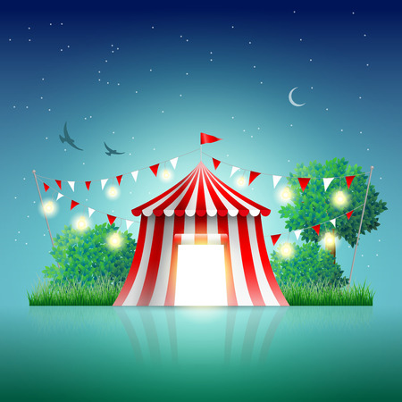 Circus tent in night landscape. Elements are layered separately in vector file.