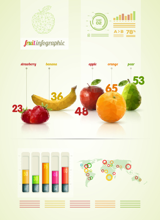 Vector triangle polygonal fruit infographic design template. Vector