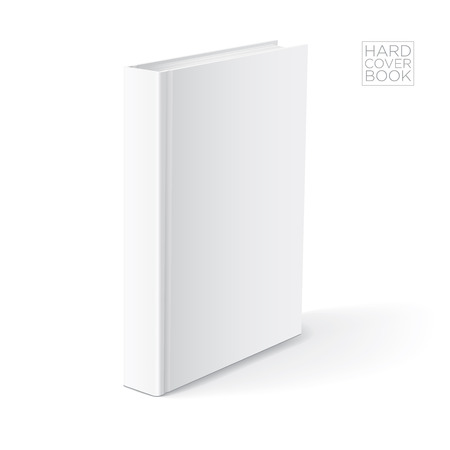 blank space: 3D Hard cover book design template. Vector detailed illustration.