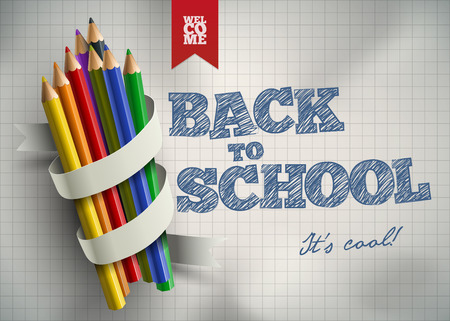 colored school: Welcome back to school  Vector illustration  Elements are layered separately in vector file  Easy editable