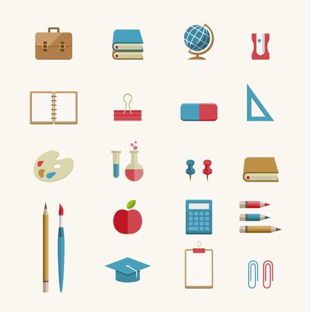 Vector Flat Education and School Supplies Icon Set
