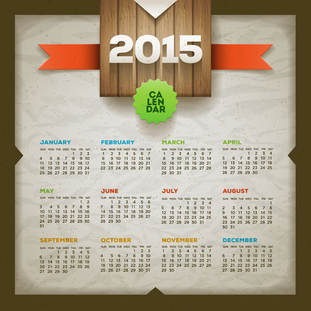 2015 calendar  Vector design template  Elements are layered separately  Illustration