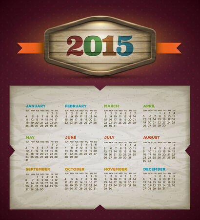 2015 calendar  Vector design template  Elements are layered separately  Vector