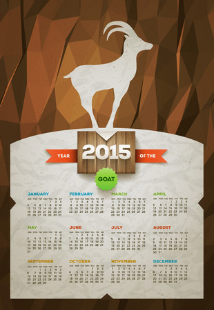 Year of the Goat 2015 calendar  Vector design template  Elements are layered separately  Vector