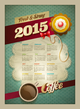 patisserie: 2015 Calendar design template  Vector cup of coffee and cakes on lace paper background with copy space  Illustration