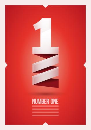 numero uno: Resumen de vectores número 1 cartel plantilla de diseño