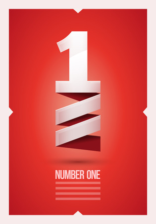 1: Vector abstract number 1 poster design template