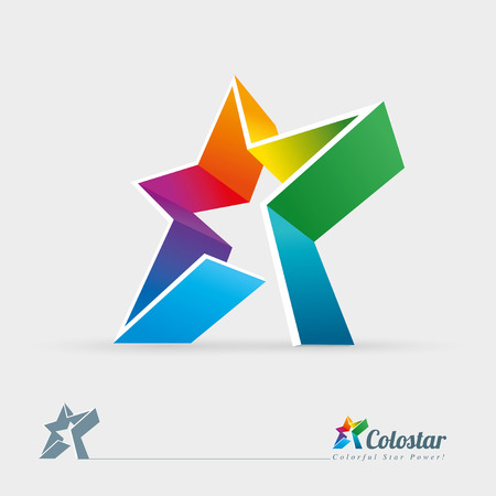 Vector 3d colorful star illustration design element  Easy editable