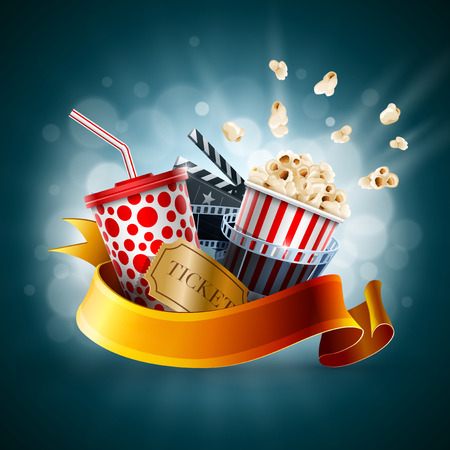 Popcorn box, disposable cup for beverages with straw, film strip, clapper board and ticket. Cinema Poster Design Template. Detailed vector illustration.  矢量图像