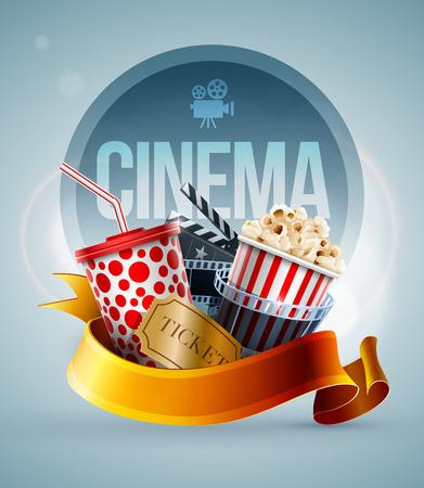 ポップコーン ボックス、飲料用ストロー、フィルム ストリップ、クラッパー ボード、チケットの使い捨てコップ。映画ポスター デザイン テンプレ