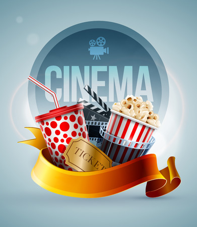 Popcorn box, disposable cup for beverages with straw, film strip, clapper board and ticket. Cinema Poster Design Template. Detailed vector illustration.  Ilustrace