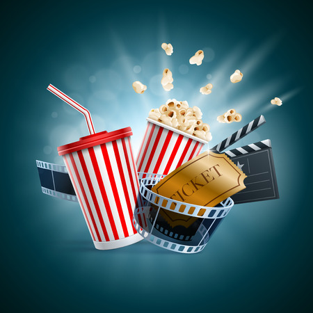 Popcorn box, disposable cup for beverages with straw, film strip, clapper board and ticket. Cinema Poster Design Template. Detailed vector illustration.  Иллюстрация
