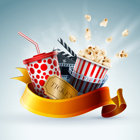 Popcorn box, disposable cup for beverages with straw, film strip, clapper board and ticket. Cinema Poster Design Template. Detailed vector illustration.  Ilustração