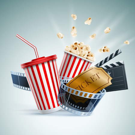 Popcorn box, disposable cup for beverages with straw, film strip, clapper board and ticket. Cinema Poster Design Template. Detailed vector illustration.  Ilustracja