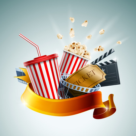cinema: Popcorn box, disposable cup for beverages with straw, film strip, clapper board and ticket. Cinema Poster Design Template. Detailed vector illustration.