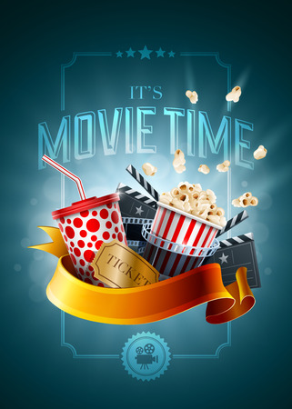 movie clapper: Movie concept poster design template. Detailed vector illustration.