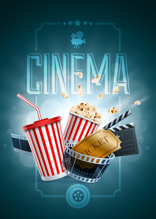 Popcorn box, disposable cup for beverages with straw, film strip, clapper board and ticket. Cinema Poster Design Template. Detailed vector illustration.  Vector
