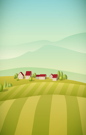 Vector illustration of little village landscape with fields. Vector