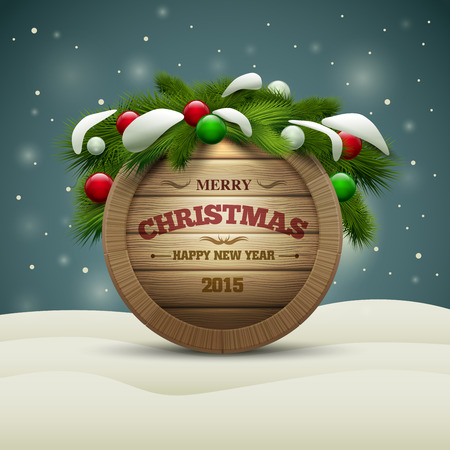 Vector realistic illustration of wooden christmas message board. Elements are layered separately in vector file. Vector