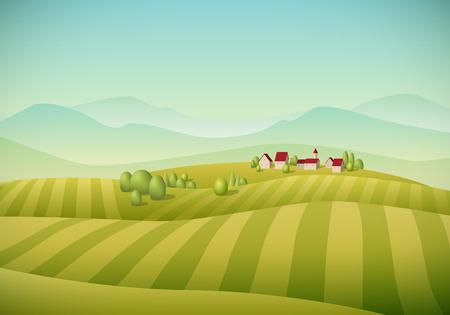 granja: Ilustraci�n del vector del paisaje de la aldea peque�a de campos.