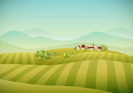 Vector illustration of little village landscape with fields.