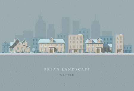 urban landscapes: flat illustration of winter snowy city landscape. Easy editable.