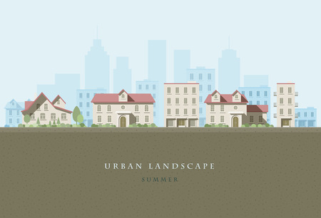city landscape: flat illustration of city landscape.  Illustration