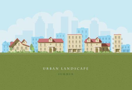 都市景観の平らなイラスト。