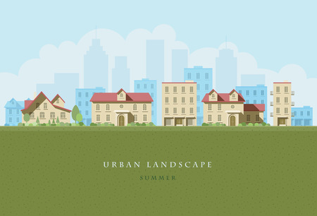 flat illustration of city landscape.  Illustration