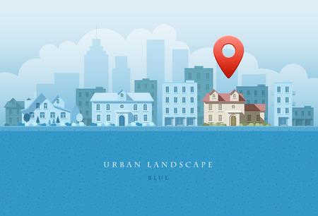 flat illustration of city landscape.   イラスト・ベクター素材