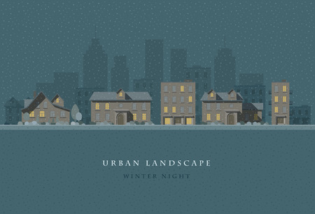 city landscape: flat illustration of winter night city landscape.